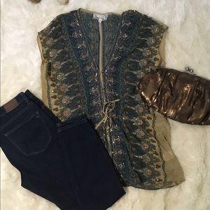 Anthropologie beaded tunic top